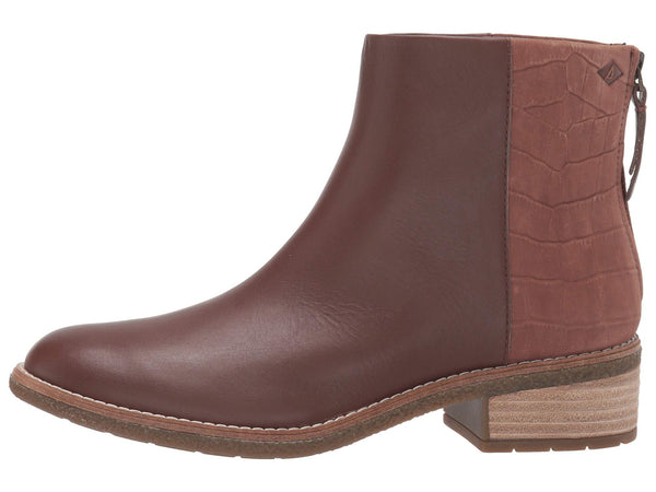 Sperry Womens Maya Bellet Leather Boots-Croc Tan