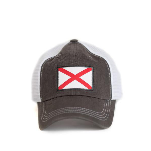 State Traditions Alabama Flag Trucker Hat-Grey - Bennett's Clothing - 2