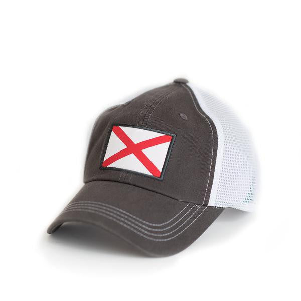 125742c82e559 State Traditions Alabama Flag Trucker Hat-Grey - Bennett s Clothing - 1
