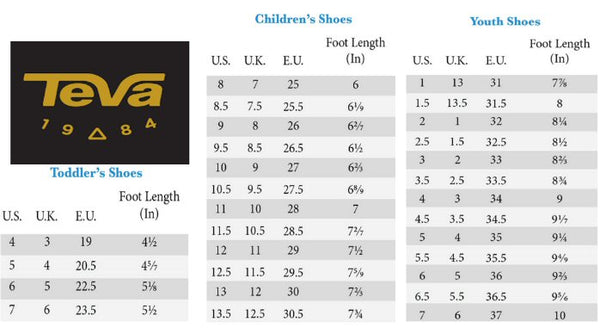 Teva Kids Size Chart from Bennetts Clothing where you can find Teva Sandals to fit the entire family.