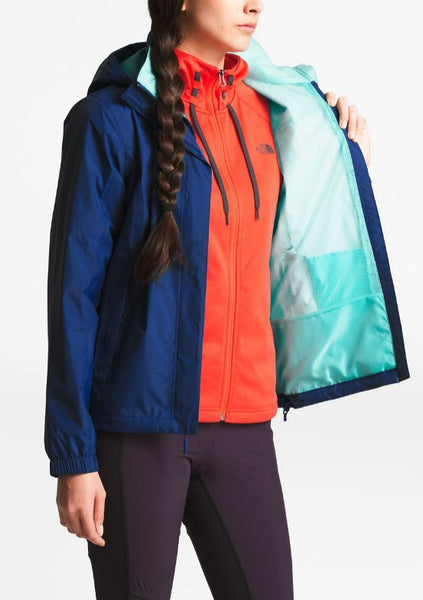 The North Face Womens Resolve Rain Jacket-Sodalite Blue-Mint
