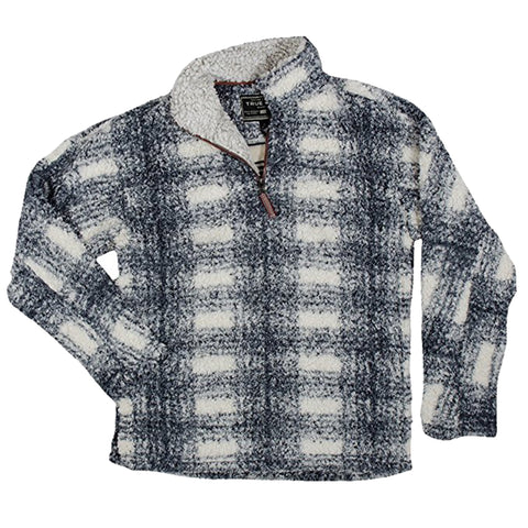 True Grit Big Plaid Frosty Tipped ¼ Zip Fleece Pullover-Charcoal