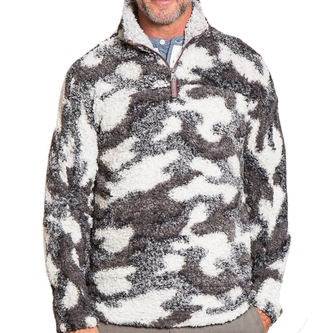 True Grit Camo Frosty Tipped ¼ Zip Fleece Pullover-Charcoal