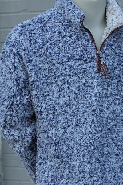 True Grit Frosty Tipped ¼ Zip Fleece Pullover-Vintage Blue - Bennett's Clothing - 2