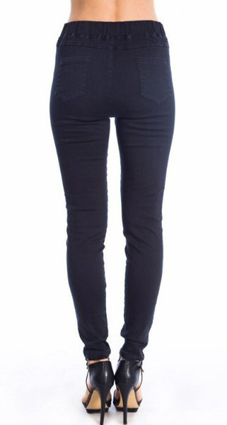 Umgee Distressed Jeggings/Leggings-Black - Bennett's Clothing - 4