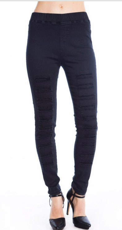 Umgee Distressed Jeggings/Leggings-Black - Bennett's Clothing - 1