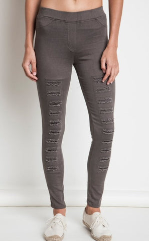 Umgee Distressed Jeggings/Leggings-Olive - Bennett's Clothing