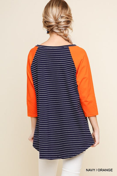 Umgee Striped Pocket Raglan Top-Navy-Orange