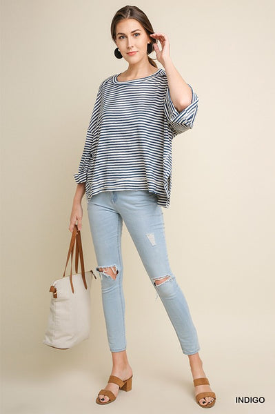 Umgee Striped Rolled Sleeve Top-Indigo