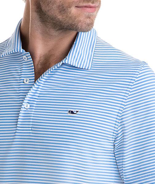 Vineyard Vines Winstead Stripe Performance Golf Polo-Ocean Breeze