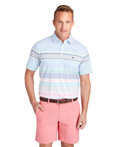 Vineyard Vines Portsmouth Engineer Stripe Sankaty Polo-White Cap