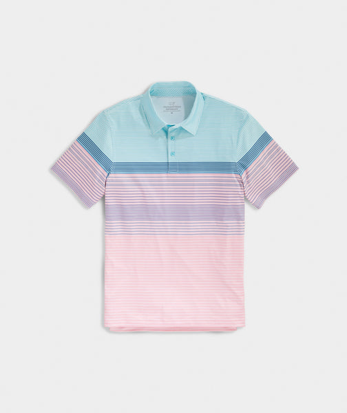 Vineyard Vines Engineer Stripe Sankaty Polo-Hibiscus