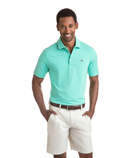 Vineyard Vines Heathered Wilson Stripe Golf Polo-Antigua Green