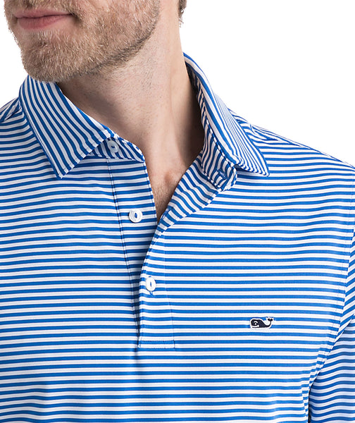 Vineyard Vines Winstead Stripe Performance Golf Polo-Spinnaker