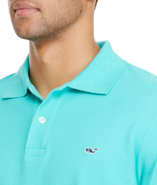 Vineyard Vines Classic Pique Polo-Aqua - Bennett's Clothing - 2