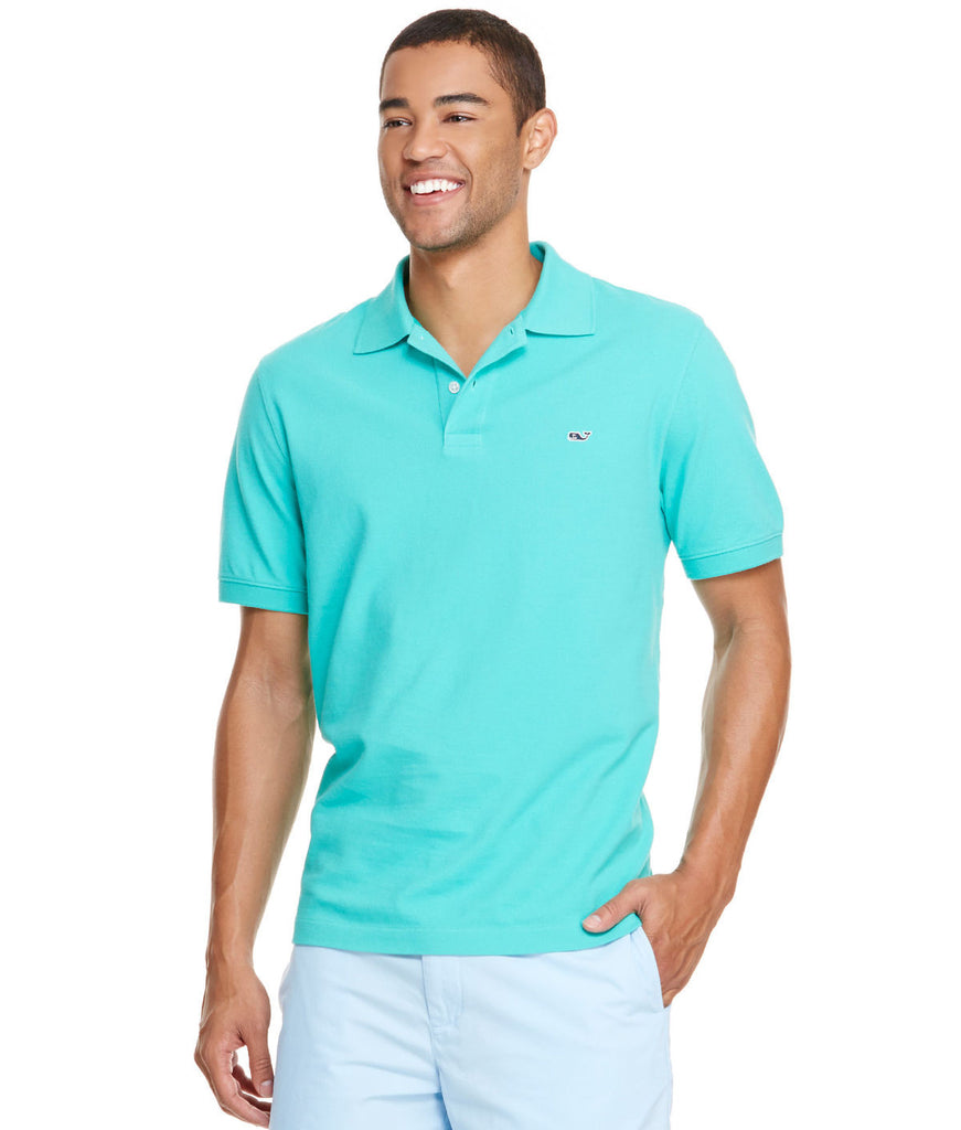 Vineyard Vines Classic Pique Polo-Aqua - Bennett's Clothing - 1