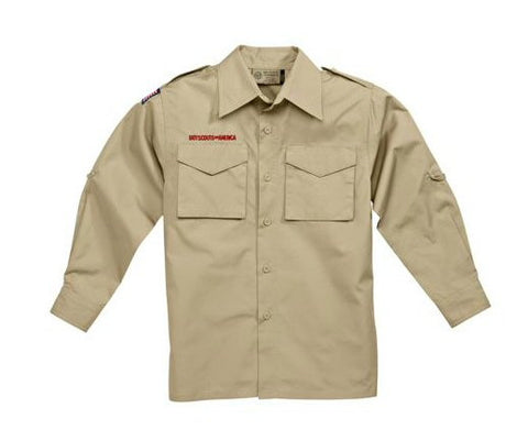 Boy Scout Youth Long-Sleeve Cotton Poplin Uniform Shirt-Tan - Bennett's Clothing - 1