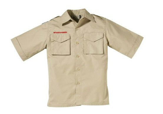 Boy Scout Youth Short-Sleeve Cotton Poplin Uniform Shirt-Tan - Bennett's Clothing
