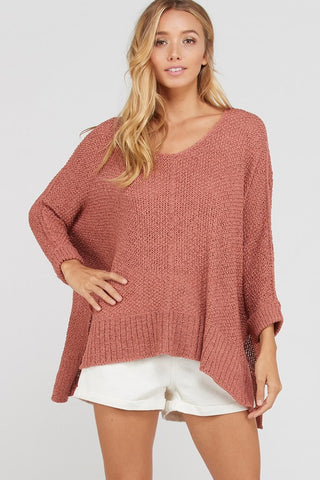 Wishlist Split Hem loose Fit Sweater-Ginger