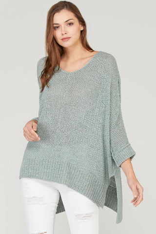 Wishlist Split Hem loose Fit Sweater-Mint