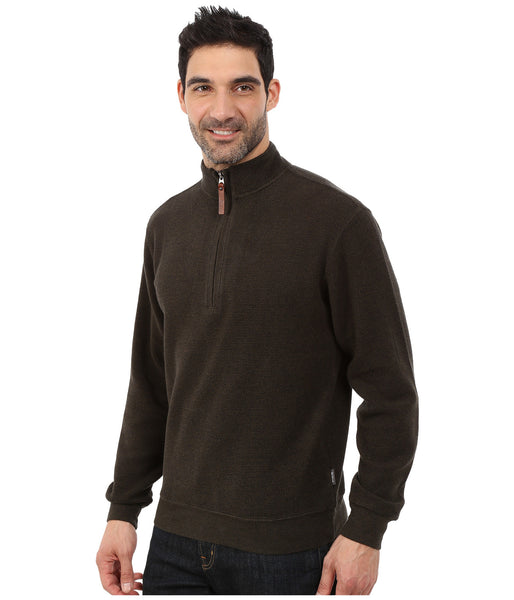 Woolrich Men's Bromley Half Zip Pullover-Dark Loden Heather - Bennett's Clothing - 2
