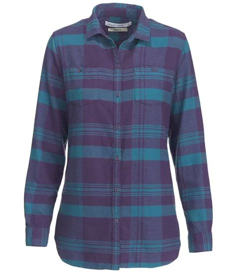 Woolrich Women's Pemberton Boyfriend Flannel Shirt-Purple