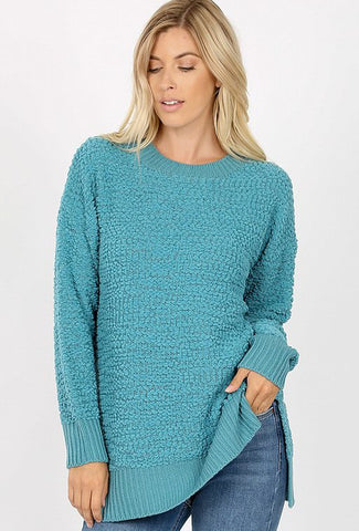 Zenana Popcorn Crew Neck Pullover Sweater-Dusty Teal