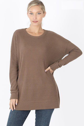 Zenana Thermal Waffle sweater top will keep you cozy with on point styling. Looks great layered or worn along. Shop Bennetts Clothing for the latest in women's fashions shipped same day to your front door