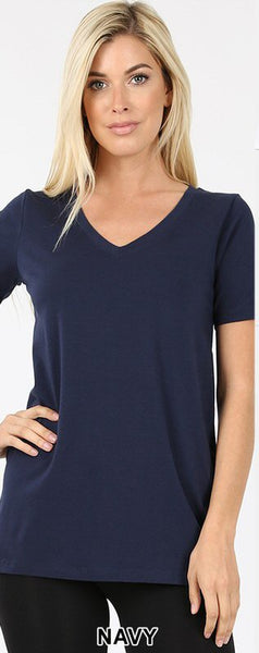 Zenana Cotton V-Neck Tee-8 Colors!!