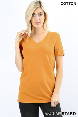 Zenana Cotton blend V-neck tee is available in so many colors that look great layered or worn along. Shop Bennetts Clothing for the latest in womens fashions
