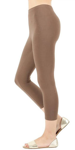 Zenana Cotton Capri Leggings-Mocha