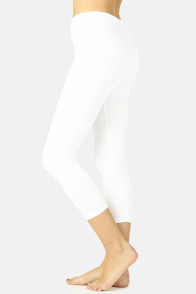 Zenana Cotton Capri Leggings-White