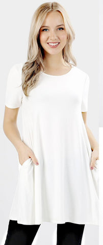 Zenana Flared Pocket Short Sleeve Top-Ivory