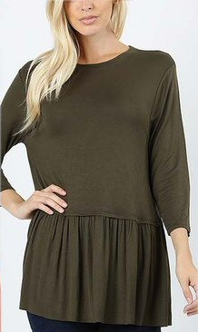 Zenana Ruffle Bottom Top -Shop Bennetts Clothing for cute tops and same day shipping