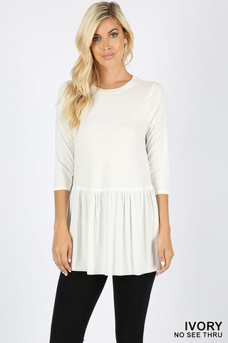 Cute Zenana Ruffle Bottom Top -Shop Bennetts Clothing for cute tops and same day shipping
