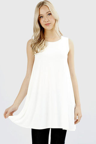 Zenana Sleeveless Pocket Tunic-Ivory