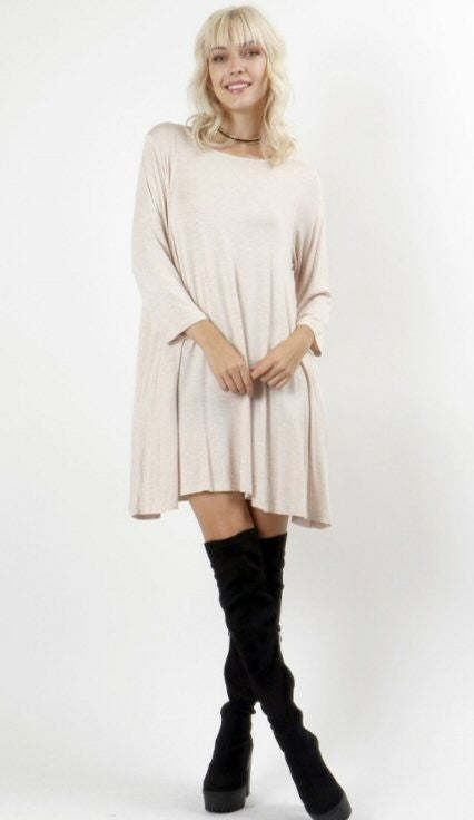 Zenana 3/4 Sleeve Swing Tunic-Ivory - Bennett's Clothing