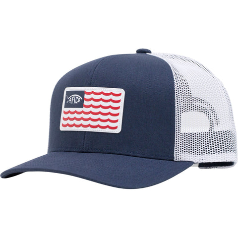 Aftco Canton Trucker Hat was made for the Patriotic angler. Shop Bennetts Clothing for a large selection of Aftco hats and shorts.