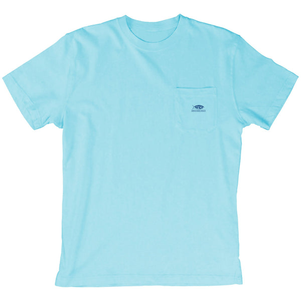 AFTCO Badge Short Sleeve T-Shirt-Light Blue