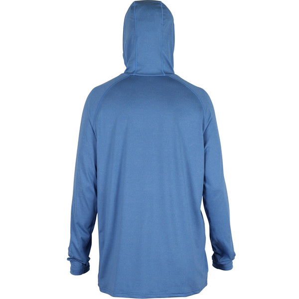 AFTCO Samurai 2 Hoodie Performance Long Sleeve Fishing Shirt-Nautical Blue Heather
