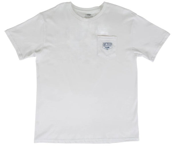 AFTCO Splatter Short Sleeve T-Shirt-White