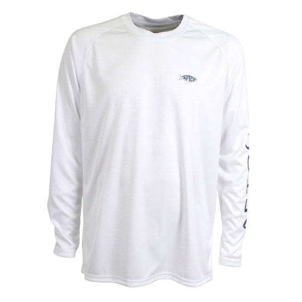 AFTCO Samurai Performance Long Sleeve Fishing Shirt-White