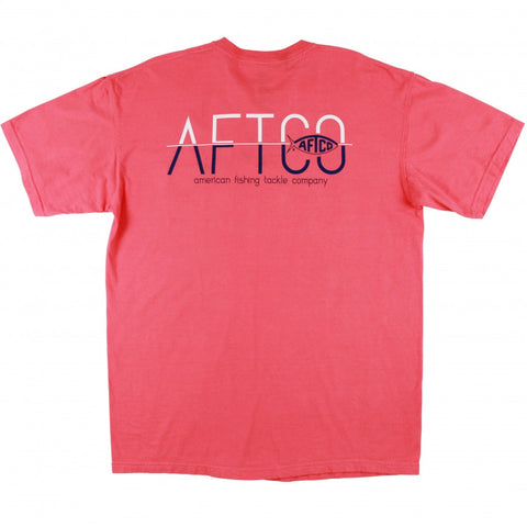 Aftco Men's Split Logo T-Shirt-Coral - Bennett's Clothing