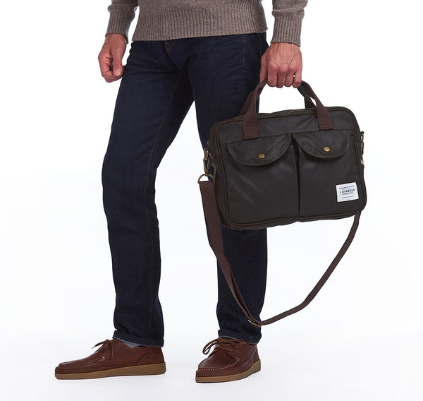 Barbour Wax Longthorpe Laptop Bag-Olive