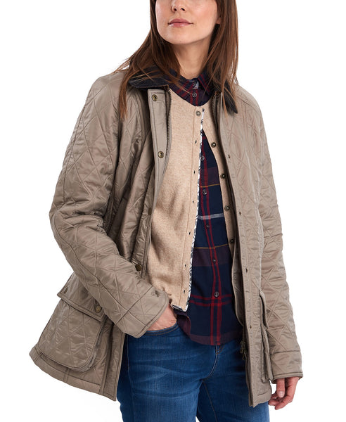 Barbour Womens Beadnell Polarquilt Jacket-Taupe