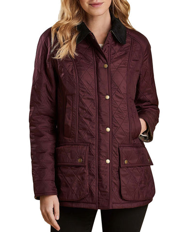 Barbour Womens Beadnell Polarquilt Jacket-Aubergine