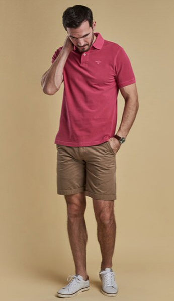 Barbour Mens Washed Sports Polo-Fushia