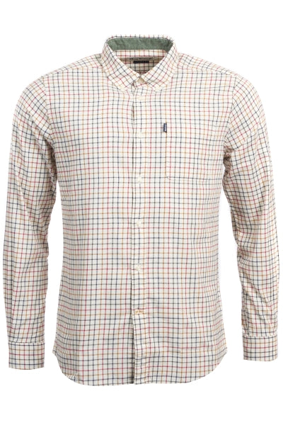 Barbour Mens Endsleigh Tattersall Sport Shirt-Red