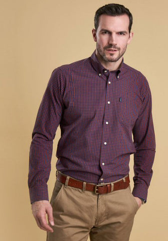 Barbour Mens Country Gingham Shirt-Burnt Orange