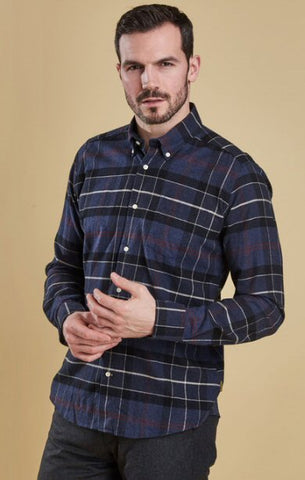 Barbour Mens Lustleigh Shirt-Navy Marl Tartan